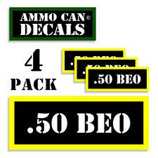 """.50 BEO Ammo Can Labels Ammunition Case 3""""x1.15"""" stickers decals 4 pack BLYW"""