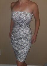 Betsey Johnson Vintage White Floral Bustle Back Corset Dress Ruched Strapless 2