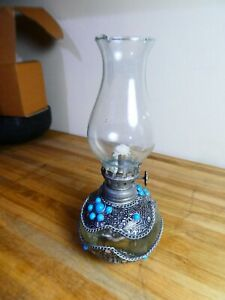 Unusual Small Glass Vintage Oil Lamp, very pretty. Nice decoration.