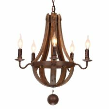 5-Light Rustic Wooden Chandelier Light Fixture