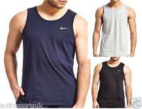 Men's Nike Embroided Swoosh Gym Tee T-Shirt Plain Tank Top Training Vest S - XL