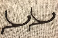 "2 Single COAT HOOKS 2 3/4"" 1850's Farm house wardrobe old rusty iron vintage"