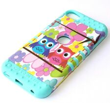 iPod Touch 5th & 6th Gen - HARD & SOFT RUBBER HIGH CASE COLORFUL BLUE OWL BIRDS