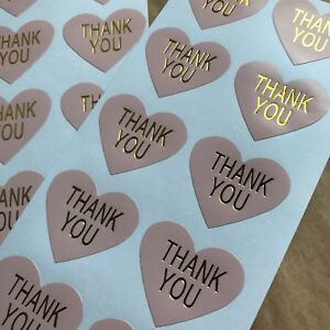 50 Heart Thank You Stickers On Glossy Pastel Pink Paper With Gold Lettering