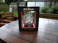 OLD MONK THE LEGEND INDIAN EMPTY COLLECTABLE RUM BOTTLE WITH BOX UPCYCLE