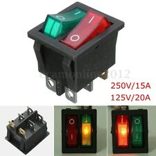 Red/Green Light 6 Pin Double SPST ON/OFF Rocker Boat Switch 250V/15A 125V/20A AC