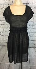 Anthropologie 6X6 Black Sheer babydoll lolita grunge gothic Dress Sz S C562