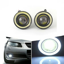 "3.5"" inch LED Fog Light Projector Driving Lamp COB Angel Eye Halo Ring Kit White"