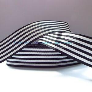 Per Metre - Black and White Stripe  25 mm wide Printed Grosgrain Ribbon
