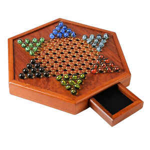 Classic Game Collection Chinese Checkers and Traditional Checkers, with Drawer