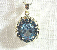 5.02ct Genuine Blue/London Blue Topaz Solid 925 Sterling Silver Pendant & Chain