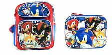 """Sonic The Hedgehog Tail, Shadow, Knuckles 12"""" Blue School Backpack w/Lunch Bag"""