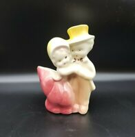 """Cute Small Vintage Planter Couple Pink And Yellow 5-1/4"""" tall MCM"""