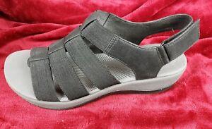 CLARKS Women's Arla Shaylie Cloudsteppers Black Platform Sandals Size US 8W
