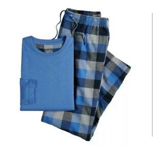 Men/'s Croft /& Barrow Henley /& Plaid Flannel Pants Lounge Pajama 2-Piece Set