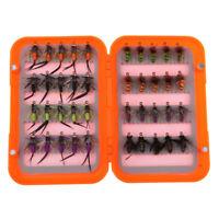 40pcs/box Fly Fishing Flies Kit Bead Head Nymph Flies for Bass Salmon Trouts
