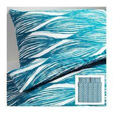 NIP IKEA Malin Blad Turquoise White Cotton TWIN Size Duvet Cover & a Pillow Case