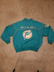 VINTAGE NIKE MIAMI DOLPHINS SWEATER SILVER GRAY TAG EMBROIDERED VERY RARE SZ XL