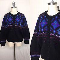 Vintage 80s L.L. Bean Nordic Mohair Cardigan Medium