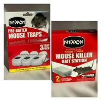 Nippon Pre Baited Mouse Trap 3 Pack Or 2 Mouse Killer Bait Station Weatherproof