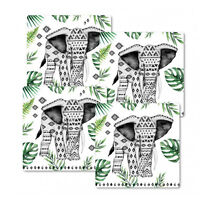 Set of 4 Aztec Tropical Elephants Coasters Cork Back Fiberboard Multi-Use Trivet