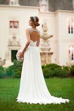 Sexy Beach White/Ivory Chiffon Beach Wedding Dress Bridal Gown Deb Party Ball
