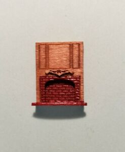 """Dollhouse Miniature 1:144 Scale Full Wood and Red Brick Fireplace """"ASSEMBLED"""""""