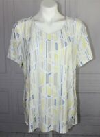 Womens JM Collection s/s spring summer blouse Embroidered Size XL