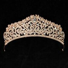 STUNNING GOLD CROWN/TIARA WITH CLEAR CRYSTALS, WEDDING, BRIDAL OR RACING