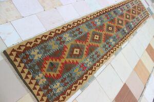 3396...Best Quality Hand Woven Lamb Wool Kilim..Size ..402 .x 77..CM