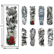 Temporary Tattoo Sleeves 8  Sheets Large  Fake Black  Full Arm Tattoo Stickers