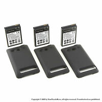 3 x 3500mAh Extended Battery for HTC EVO 4G Black Cover