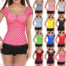 Women Peasant Tops Rockabilly Vintage Style Blouse Pinup Shirt Red Black Plus4XL