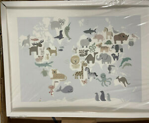 """Pottery Barn Kids Minted Wild World Map Wall Art by Jessie Steury 24""""x18"""" White"""