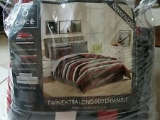 Twin XL 6-piece Reversible Comforter Set Gray/Red/White/Black