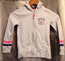 Nautica Girls Full Zip Long Sleeve Sweatshirt Gray Pink & Blue Accents Size 7