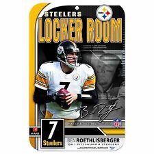 "NFL PITTSBURGH STEELERS  BEN ROETHLISBERGER LOCKER ROOM SIGN 11x 17"" MADE IN USA"