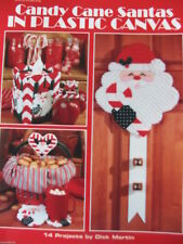 Plastic Canvas Pattern Book CANDY CANE SANTAS ~ Ornaments & Decor