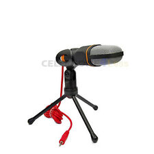 Condenser Microphone With Stand For PC Laptop Skype Sound Recording - Black