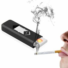 USB Mini Electronic Rechargeable Flameless Cigarette Lighter Windproof (Black)