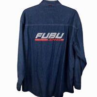FUBU Jeans Denim Shirt Jacket Blue Jean Mens 2XL Button up Vintage Retro 2XL