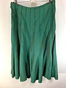 Per Una Maxi Skirt Long Green Linen Blend Flared 16 r