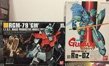 Bandai 1/144 Re Gz + HG RGM 79 GM Gundam Robot Anime Model Kit Toy Lot 2 Char