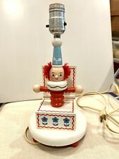 Vintage Wood Clown Lamp, Jack In The Box Light, 50's/60's