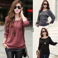 New Womens Long Sleeve Batwing Dolman Lace Loose T-Shirt Shirt Tops Blouse LEBB