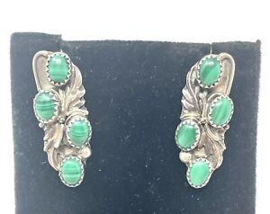 VTG Navajo Richard Long Sterling Silver Turquoise Post Earrings (7.6G)