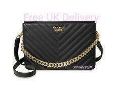 🛍 Genuine VICTORIA'S SECRET Black Pebbled V-Quilt Bond Street Crossbody Bag