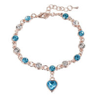 New Hot Women Multi-color Heart Love Crystal Rhinestone Bangle Bracelet Jewelry
