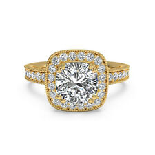 1.20Ct Diamond Engagement Rings Fine 14kt Yellow Gold Cushion VVS1/D Size P 6034