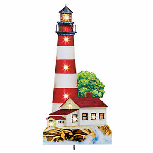 Solar Powered Nautical Lighthouse Garden Stake